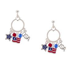 Dress for the occasion with Stars and Stripes Dangling Charms Hoop Drop Earrings!