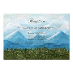Mountain Wedding Reception Adventure Begins / Reception Card