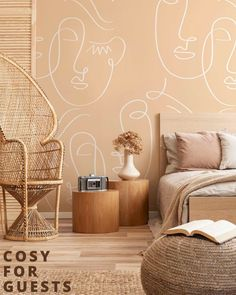 Don't forget about your Guest Room! It is now easier than ever to impress your visitors with our stylish abstract murals ✨ Check out one of our customer favorites: The White and Gold Abstract Twin Faces Wall Mural. Define your style with Eazywallz #cosy #family #abstract #fall #octoberstyle