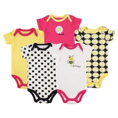 Luvable Friends Baby 5 Pack Bodysuits - Bee