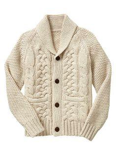 Boys - Shawl cable knit cardigan - Gap