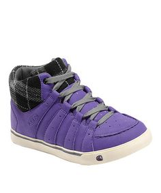 Violet & Black Plaid Alameda Mid Leather Sneaker - Kids by KEEN #zulily #zulilyfinds