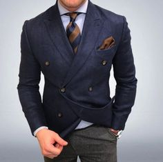 I just love the navy double breasted & grey suit pants combination (especially flannel pants). It works, it looks awesome and its different yet stylish and elegant