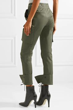 Monse | Eyelet-embellished cotton-blend twill skinny pants | NET-A-PORTER.COM