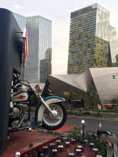 A giant motorcycle popping out of the wall? Check. #LasVegas #Nevada #USA #RTW #JulesVernex2