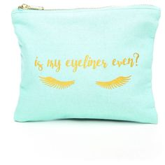 8 Oak Lane Eyeliner Pouch Bag ($16) ❤ liked on Polyvore featuring beauty products, beauty accessories, bags & cases and teal