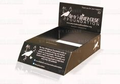Charity Tray With Angled Front – WH Skinner  Custom transit box charity tray with angled front, integrated money slot and collection box   Pop-up header and box sides have plenty of space for your important branding and graphics   Bespoke printed charity boxes are not just for the big national and international charities, our digital printer makes shorter runs cost effective too