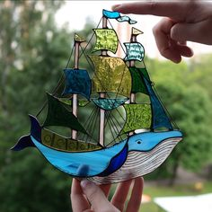 Trendy sail boats names ideas Stained Glass Suncatchers, Stained Glass Lamps, Stained Glass Designs, Stained Glass Projects, Stained Glass Patterns, Mosaic Art, Mosaic Glass, Glass Painting Designs, Glass Marbles