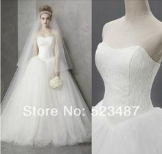 New Graceful Strapless Lace Tulle Wedding Dresses Bridal Ball Custom Size $176.00