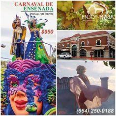 ENJOY BAJA TOURS te lleva al CARNAVAL DE ENSENADA Sábado 6 de Febrero $950 pesos  Incluye:  Hotel una noche  Hacienda  Delicias del Valle  Sol de Media Noche  Autobús Ejecutivo  Seguro viajero  Guías Aparta con 200 pesos desde OXXO y/o Banamex Informes : 250-0188 864-7277 414-1578 414-1032 Whatsapp: 664-174-3794 664-222-7107 664-190-7526  enjoybajatours@gmail.com o en nuestra fan page: ENJOY BAJA TOURS ABIERTO de Lunes a Viernes de 9:30 am A 6:00 pm.  Sábados de 10:00 am A 2:00 pm Calle San…