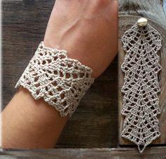 Ivory lace crochet bracelet//lace bracelet//cuff bracelet//beige bracelet//boho bracelet//crochet jewelry, Valentines gift for her Bracelet Crochet, Lace Bracelet, Cuff Bracelets, Crochet Earrings, Boho Earrings, Crochet Jewellery, Handmade Jewellery, Leaf Earrings, Silver Bracelets