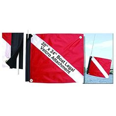Marine Sport 4678 Deluxe 20 by 24-Inch Dive Flag with Velcro Attachment:   The Marine Sport 4678 Deluxe 20 by 24-Inch Dive Flag sports the national design: red with a diagonal white strip from the top left to the bottom right corner. The flag also features a velcro attach option and (3) grommets to string the flag in the top two corners and the bottom left corner. Marine Sports Mfg., Inc is dedicated to excellence in providing quality products backed by superior service.