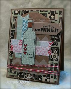 It is Day of Growing in Unity! I have thoroughly enjoyed sharing Unity Stamps creations with you this week! Today is my last day as a G. Chevron Bags, Wine Craft, Unity Stamps, Bestest Friend, Retirement Cards, Wine Brands, Card Making Inspiration, Paper Dolls, Twine