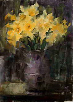 Daffodils Against Dark,  oil on canvas,  40x30cm, 16x12in