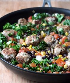 Southwest Turkey Meatball Skillet | doughseedough.net