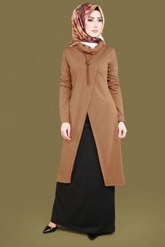 İnci Kolyeli Combined Combo Taba – Belgin – Join the world of pin Abaya Fashion, Muslim Fashion, Modest Fashion, Fashion Dresses, Abaya Mode, Fancy Kurti, Hijab Stile, Modele Hijab, Muslim Dress