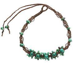 turquoise gemstone macrame  choker