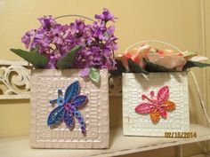 Dragonfly and Butterfly silk arr, in metal baskets