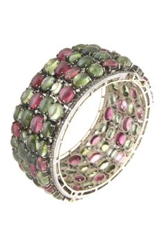 14K gold and silver prong set diamond accented assorted tourmaline cabachon bangle bracelet