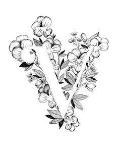 Letter V print - Alphabet, Calligraphy, Typography, Monogram, Flowers - Black and White ink art prin Art Floral, Caligraphy Alphabet, Typography Alphabet, Alphabet Art, Karten Diy, Letter Art, Ink Art, Doodle Art, Flower Art