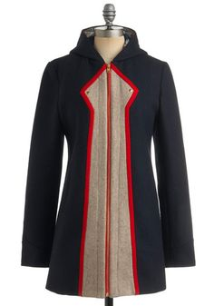 Marvel Coat - on modcloth. Love the vintage superhero lines, plus it has a hood!