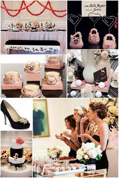 Black and Pink Bridal Party