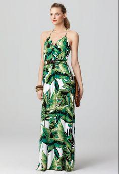 palm tree leaves maxi dress | Banana Leaf Print Dress