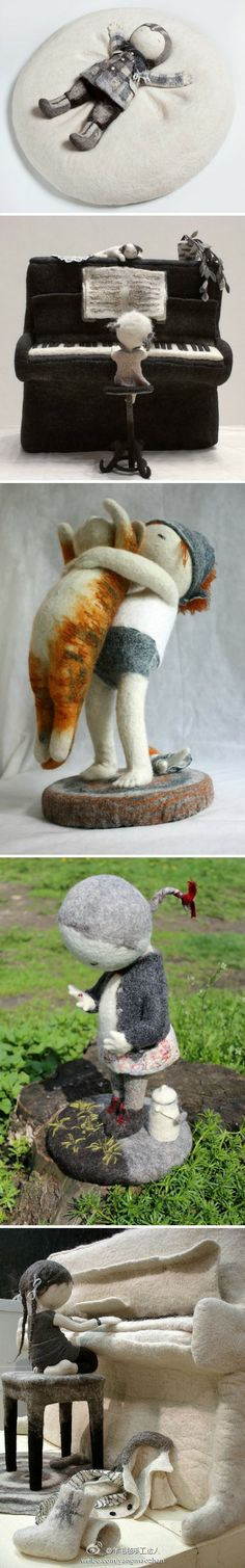 Really creative figures created with needle felting.