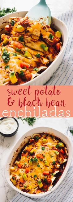 These Sweet Potato and Black Bean Enchiladas are a delicious and easy weeknight meatless enchilada recipe. They are a guaranteed family favourite and a healthier lightened up dish! via jessicainthekitch. Sweet Potatoe Enchiladas, Black Bean Enchiladas, Vegan Enchiladas, Vegetarian Dinners, Vegetarian Recipes, Cooking Recipes, Healthy Recipes, Bean Recipes, Veggie Recipes