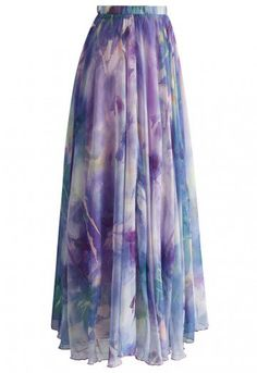 Dancing Watercolor Floral Maxi Skirt in Violet - Retro, Indie and Unique Fashion