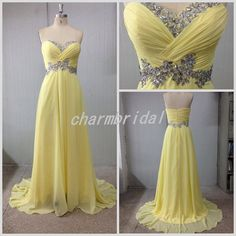 2014 New Style Sweetheart Sheath Floor Length Rhinestone Daffodils Zipper Prom Dress/Party Dress/Evening Dress /Homecoming Dress/Ball Gown on Etsy, $119.00