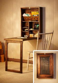 In geval van een klein huisje: ruimtebesparende kunst met werkplek