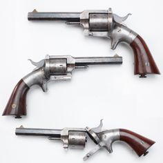 "Pond Single Action Belt Revolver- This .32 ca rimfire gun made between 1861-70. Due to the similarity with Smith & Wesson revolvers, inventor Lucius W. Pond was sued for patent infringement & forced to cease production. After the order came, Pond still had an inventory of nearly 4,000 revolvers remaining in his possession. Instead of forcing him to destroy the guns, he was allowed to continue selling them under one condition - they were to be marked ""MANUF'D FOR SMITH & WESSON"" prior to…"