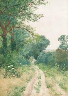 A Sussex Lane, 1888, Arthur Rackham. English Illustrator (1867 - 1939) - pencil and watercolour