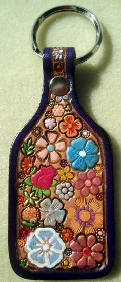 Leather Flower Garden Key Fob with Purple Border by galeatherlady, $15.00