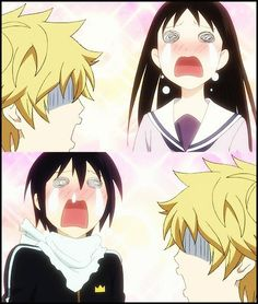"Noragami I LOVE THIS ANIME!!!!<---Yukine's just like, ""What?! Why're you guys crying?!"" Oh, I love this scene"