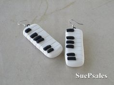 Piano Earrings Polymer Clay Earrings Music Themed by SuePsales, $10.00