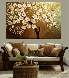 ORIGINAL Large 3ft x 2ft gallery wrap canvas-Contemporary impasto modern abstract floral painting by Nicolette Vaughan Horner Free ship