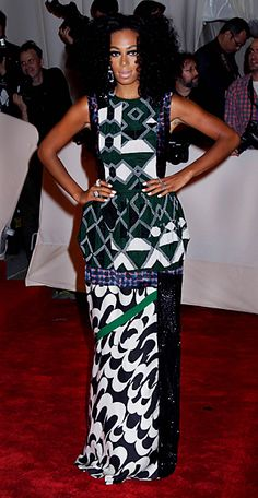 Solange Knowles working a graphic print dress