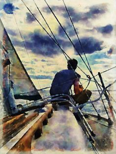 Watercolor painting of man sitting on a sailing boat and watching the sunset.  Prints from $27