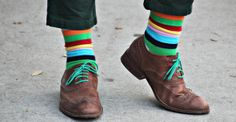 Love the striped socks  green shoe laces.  Now to convince the hubby that he needs these...