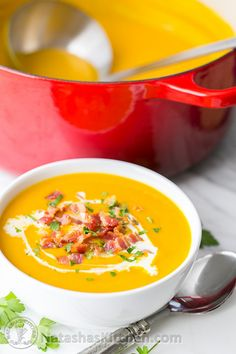 Sweet Potato and Coconut Soup Recipe - creamy without using any cream! Comfort in a bowl #healthy #easyrecipe @natashaskitchen