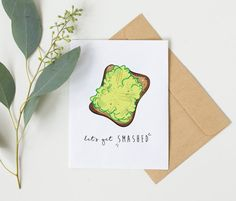 Let's get SMASHED! A funny avocado themed greeting card, designed by yours truly! :) #Christmascard #Avocado #avocadopun #funnychristmascard #greetingcard #illustration #foodpun #funnybirthdaycard #handmade #etsy