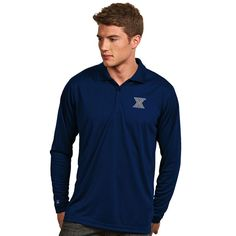 Xavier Musketeers Antigua Exceed Long Sleeve Polo - Navy