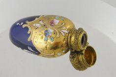 Antique Cobalt Blue Glass Gold Gilt Enamel Floral Perfume Bottle | eBay