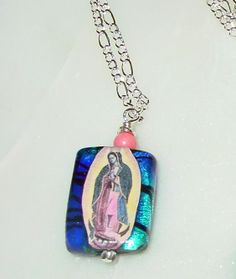 Guadaloupe with Pink Coral on a Stained Glass background (2011 inventory, sold)