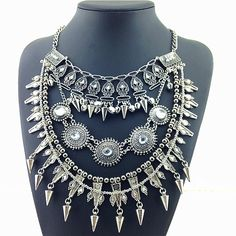 NEW Arrival Women Jewelry Statement Necklace Exaggerated Vintage Silver Plated Necklaces & Pendants Party Chokers Accessories