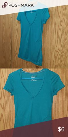 American Eagle Teal Green V neck Tee Simple & Cute Size Small American Eagle Outfitters Tops Tees - Short Sleeve