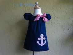 Summer Peasant Dress, navy blue and red stripes, boutique style, tunic toddlers, sundress, custom sizes 12m, 18m, 2t, 3t, 4t on Etsy, $32.00