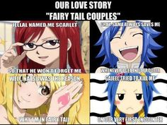 Jellal gave Erza her name, Gray always saves Juvia, Natsu brought Lucy to Fairy Tail. and Gajeel tried to kill Levy. Yeah, he's got some work to do. Fairy Tail Meme, Fairy Tail Nalu, Fairy Tail Ships, Manga Anime, Got Anime, Anime Boys, Anime Fairy, Itachi, Naruto